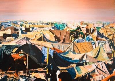 """Titre de la peinture """"SAKEO"""" (camp de réfugiés Kmers de la Croix-Rouge d'après une photo du Dr Mario DURAN) Oeuvre offerte en 1996 """"L'activité artistique, chez Bernard RANCILLAC, n'est pas conciliante à priori. Elle ne récuse ni n'épouse. Elle va, plutôt, en quête d'une cartographie plausible du monde réel et de lui seul, monde social, monde politique, monde de l'être, aussi bien... Il s'agit bien, en l'occurrence d'un acte d'accompagnement du temps."""""""