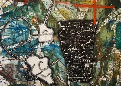 """Oeuvre offerte en 1992 Huile et acrylique sur toile par François ARNAL """" Hommage à la Croix-Rouge Monegasque """""""