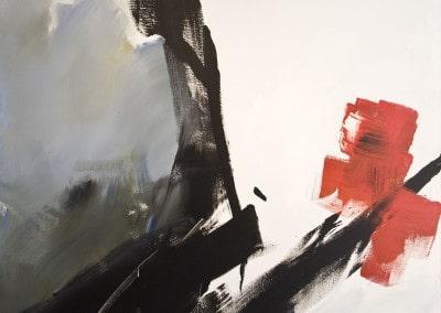 """Oeuvre offerte par Jean MIOTTE en 1993 """"Une peinture conçue dans l'esprit du geste que je porte en moi pour symboliser la grandeur de la Croix Rouge dans son côté à la fois universel et quotidien."""