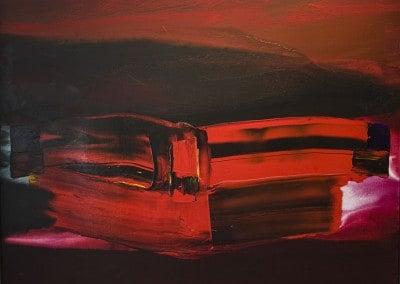 """Oeuvre offerte par Paul Jenkins en 1997. Comme le déclarait Achille Gorky : """" L'artiste ne peut pas ne pas se confesser"""". Je confesse que, pour moi, la couleur rouge signifie essentiellement que je ne peux vivre sans elle. Cette couleur constitue un paradoxe qui a été doté de maints harmoniques à travers les âges ; elle peut être une couleur froide aussi bien qu'une couleur chaude...."""