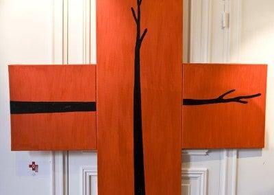 """"""" Deux Arbres """" Roberto BARNI Huile sur toille 150 x 150 offerte pour le Gala en 2007"""