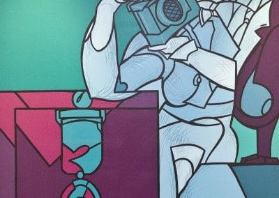 """Oeuvre offerte en 1999 """"Hommage à la Croix-Rouge"""" Huile sur toile par Valerio ADAMI (né en 1925) Signée en bas à droite Dimensions : 145cmx113cm"""