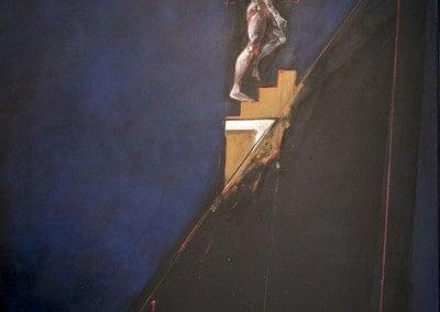 "Oeuvre offerte en 1994 Huile sur toile par Vladimir VELICKOVIC "" Descente figure V """
